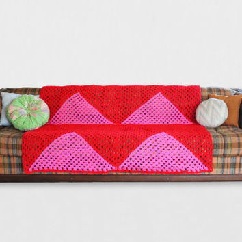 Afghan Crochet Blanket - Hot Pink Triangle and Red Granny Square Full Large