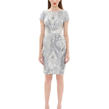 Theia Patterned Sheath Dress