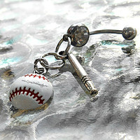 Softball or Baseball with Bat Belly Ring, Sports, Piercing, Athletic, Athlete, Belly button, Navel, Summer, Beach, Ready to Ship