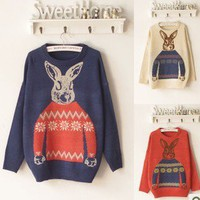 Vintage College  winter cute round neck rabbit sweater from Fashion Accessories Store