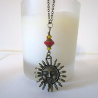 Sun Necklace - Pendant - Antique Bronze by 636designs
