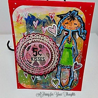 Five Cent Kisses Handmade Valentine. Ready to Ship.