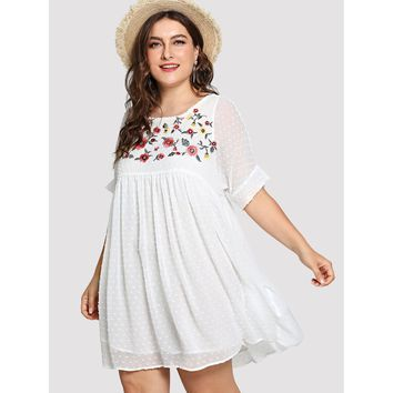 Plus Flower Embroidered Dot Jacquard Smock Dress