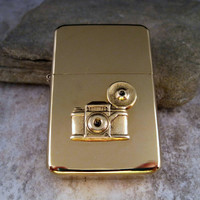 Gold Steampunk Brass Vintage Camera Cigarette Lighter