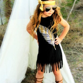 Girls Boho Dress, Girls Feather Dress, Fringe Dress, Baby Toddler Girl Boho Dress, Boho Babe, Size 6 month, 2T 3T 4T 5T 6 7 8 9
