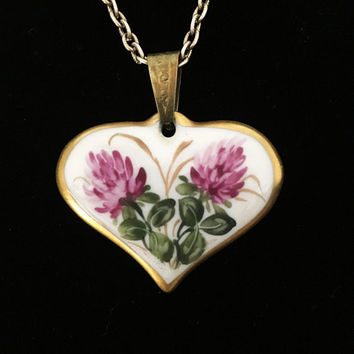 Porcelain Hand Painted Floral Heart Pendant & Chain Necklace Signed ROSENTHAL MARKTREDWITZ GERMANIA Vintage 1930s 1940s European Jewelry