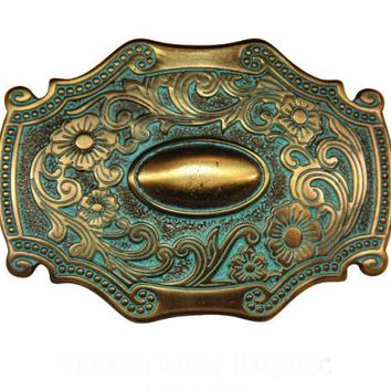 Victorian Scroll Belt Buckle - Turquoise