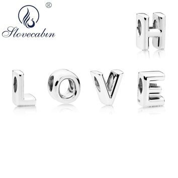 Slovecabin Sweet 925 Sterling Silver Letter Charms Beads Fits For Original Pandora Bracelet Letter A To Z Charms Jewelry Marking