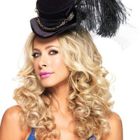 LA1958 Steampunk Mini Top Hat With Ostrich Feather