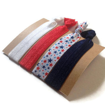 Elastic Hair Ties Patriotic Stars Red White and Blue No Crease Yoga Hair Bands