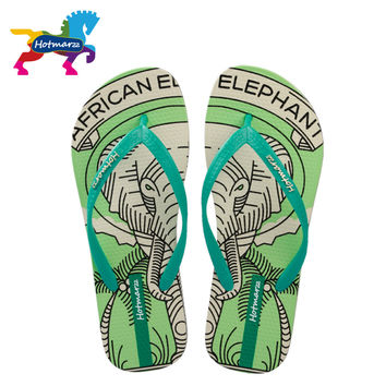 Hotmarzz Women Summer Fashion Sandals Beach Flat Flip Flops House Shoes Woman 2017 Elephant Animal Cartoon Print Home Slippers