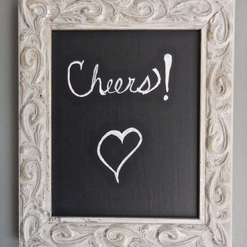 "Chalk Board Easel Set-Up Cycled Ornate Carved Wood-Frame Distress Paint White Silver-Easel Silver-8"" x 10""-Vinyl Chalkboard"