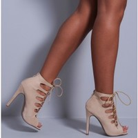 Kimberley Black Suedette Lace Up Heels | Pink Boutique