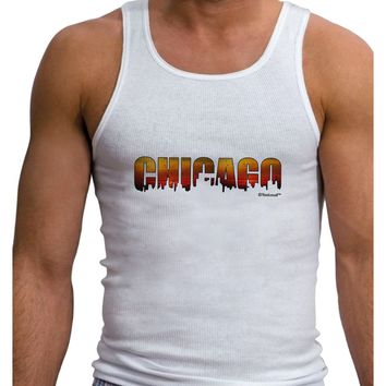 Chicago Skyline Cutout - Sunset Sky Mens Ribbed Tank Top by TooLoud