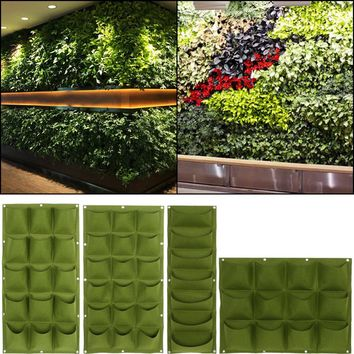 Green Planting Bag Garden Wall Vertical Strawberry Vegetable Garden Flower Plants Hanging Planter Growing Bags Hanging Pots