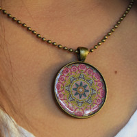 Bohemian Goddess Mandala Necklace - Colorful Carefree Hippie Boho Style
