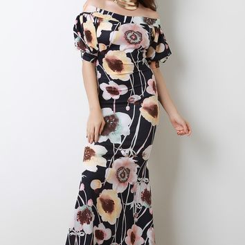 Floral Off The Shoulder Bishop Sleeve Mermaid Maxi Dress