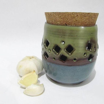 Garlic Jar, Garlic Keeper, Garlic Holder, Kitchen Storage Jar with Cork Lid, Terracotta Kitchenware Turquoise and Green