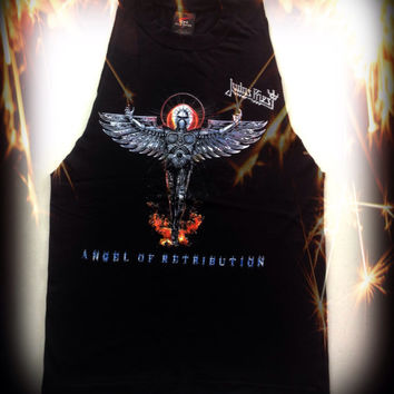 Judas Priest // band shirt // cut // raw edge//concert t shirt// heavy metal//rocker // tank