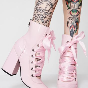 Pirouette On Em' Lace-Up Booties