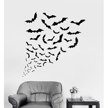 Vinyl Wall Decal Bats Halloween Horror Art Decor Stickers Unique Gift (ig4102)