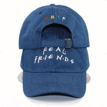 Trendy Winter Jacket casual Brand hats Real Friends demin washed Hat Trending Rare Baseball Cap adjustable Snapback Cap Kanye Tumblr Hip Hop Dad Hat AT_92_12