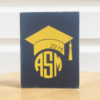 Graduation Cap monogram  Distressed Wood Sign Block  Southern Quotes and sayings