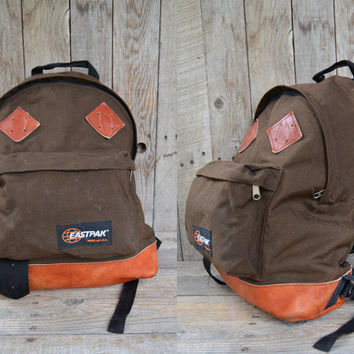 Vintage 80's USA Eastpack Brown Cordura and Leather Bottom Daypack Backpack