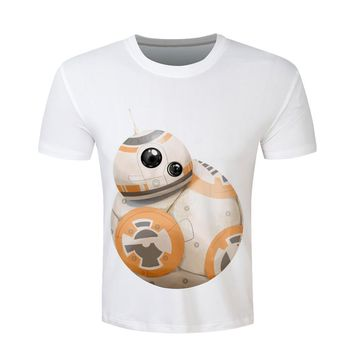 Star wars BB8 Print T shirt Men2016 Funny Harajuku Short Sleeve Plus Size T-shirt Casual Brand Clothing Male camisa