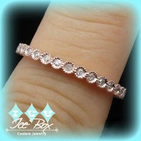 Vintage Bubbly Wedding Band Rose Gold and Diamond eternity band anniversary band