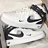 NIKE AIR FORCE 1 tide brand men and women models simple ow high-top shoes White