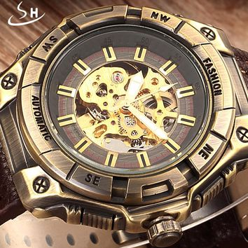 Automatic Skeleton Mechanical Watch Brand SHENHUA Retro Leather Vintage Luxury Bronze