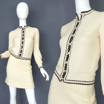Vintage 70s St. John Cream Wool Knit Skirt Suit - Size 2 - Elegant Marie Gray 2 Piece Dress Ivory with Brown Trim Gold Signature Buttons