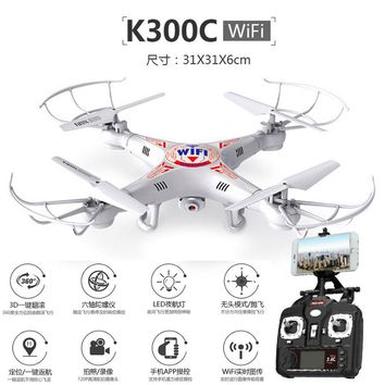 Second generation K300C FPV Rc helicopter 2.4G With 2MP HD WIFI Camera quadrocopter One key return Gravity sensing flight Drone