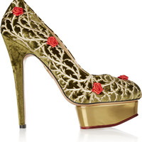 Charlotte Olympia Dolly Rose embellished velvet pumps – 65% at THE OUTNET.COM
