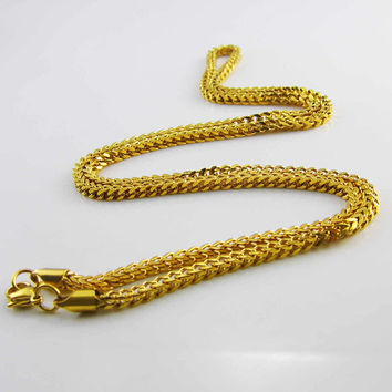 3 mm Wide 28 Inches Long Franco Chain Stainless Steel Wheat Chain Cool Gold Necklace Men's Jewelry