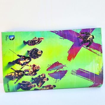 Cool Unique Green Clutch Handbag- Upcycled Suicide Squad Harley Quinn Comic Book Purse - Geek Gift