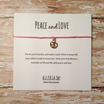 Peace and Love Wish Bracelet | Friendship Bracelet | Make a Wish String Bracelet | Friendship Gift | Hippie, Hipster, Boho Jewelry