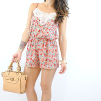 (anm) Floral vintage crochet orange romper
