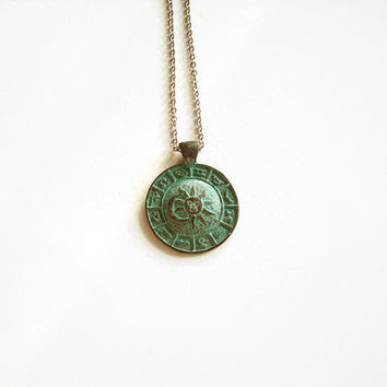 Zodiac necklace sun and moon boho style jewelry, Green patina astrology necklace bohemian jewelry layered boho, Zodiac jewelry