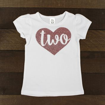 Rose Gold 2nd Birthday Shirt   Sparkly Rose Gold Glitter Heart Second birthday Shirt   Two Birthday Shirt
