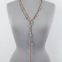 """72"""" turquoise charm faux leather stone wrap choker necklace"""