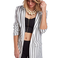 White relaxed stripe blazer