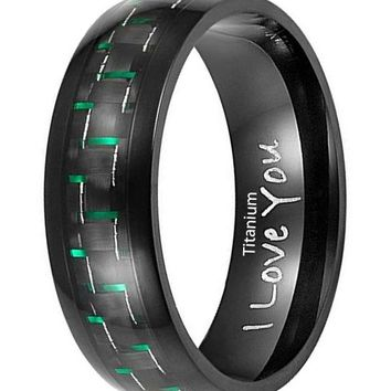 CERTIFIED 7mm Titanium Green Carbon Fiber Ring Engraved I Love You in Velvet Gift Packaging Black– Size 9