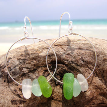 Hawaiian Lime Green, Aqua Blue, & Clear Beach Glass on 925 Sterling Silver Circular Wire Small Hoop Earrings