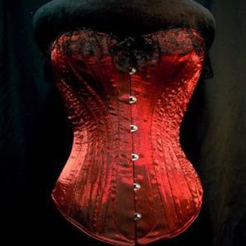 c 1880 Victorian Volcanic Red Crinkle Satin by PeriodCorsets