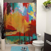 Fire in the Sky Printed Shower Curtain, Art Bathroom Decor, Bath Curtain, Abstract Art Decor, Modern Art Decor, Knife Painting, Colorful