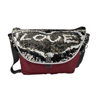 "Hawaii black sand beach & coral ""love"" heart photo messenger bag"