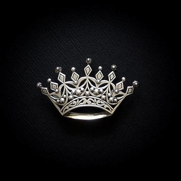 Vintage Sterling CROWN Brooch, Signed Queens Crown Brooch, Sterling Silver TIARA Brooch, Scroll Coronet Pin Hallmarked, Bridal Wedding GIFT