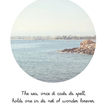 Inspirational Quote Typography - Sea Photograph In A Circle - Pastel Washed Out Wall Art - Printable Graphics INSTANT DOWNLOAD